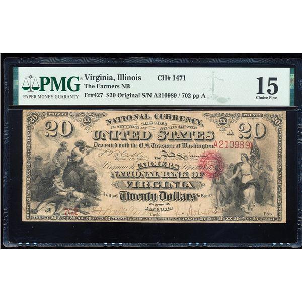 Original Series $20 Virginia, IL CH# 1471 National Bank Note PMG Choice Fine 15