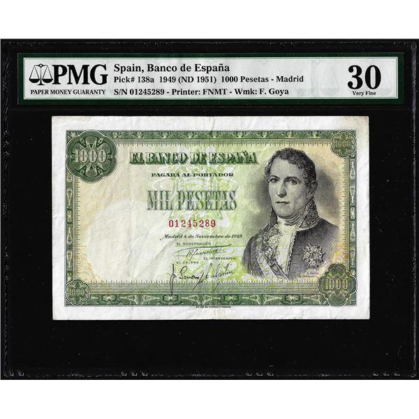 1949 Spain Banco de Espana 1,000 Pesetas Note Pick# 138a PMG Very Fine 30