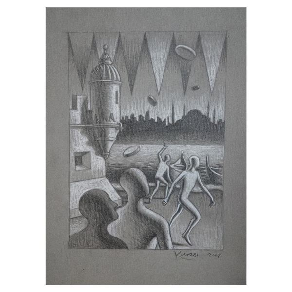 """Kostabi """"Strategy of Time"""" Original Pencil on Paper"""