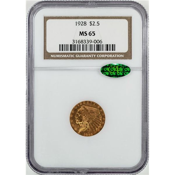 1928 $2 1/2 Indian Head Quarter Eagle Gold Coin NGC MS65 CAC