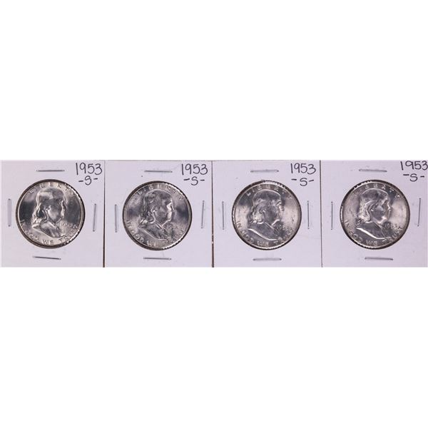 Lot of (4) 1953-S Franklin Half Dollar Coins
