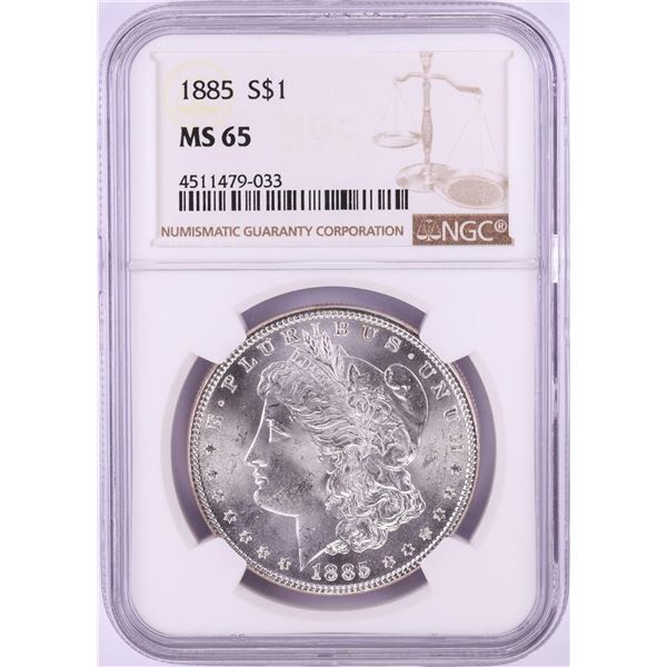 1885 $1 Morgan Silver Dollar Coin NGC MS65 Nice Toning