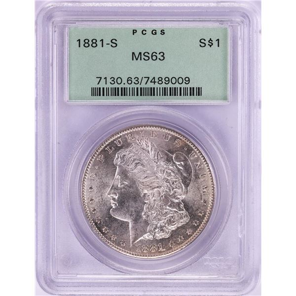 1881-S $1 Morgan Silver Dollar Coin PCGS MS63 Old Green Holder