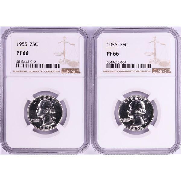 Lot of 1955-1956 Proof Washington Quarter Coins NGC PF66