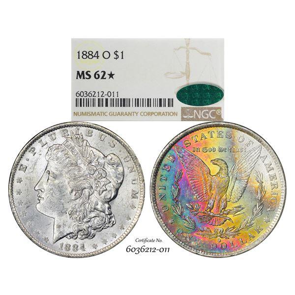 1884-O $1 Morgan Silver Dollar Coin NGC MS62* Star CAC Amazing Toning