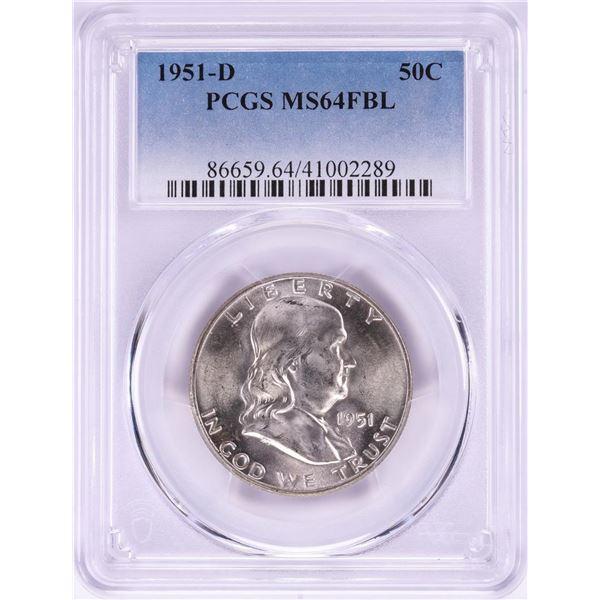 1951-D Franklin Half Dollar Coin PCGS MS64FBL