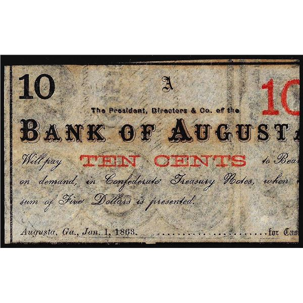 1863 Bank of Augusta Ten Cents Obsolete Bank Note