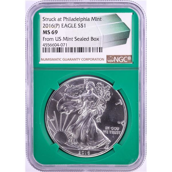2016(P) $1 American Silver Eagle Coin NGC MS69 from Philadelphia Mint Sealed Box