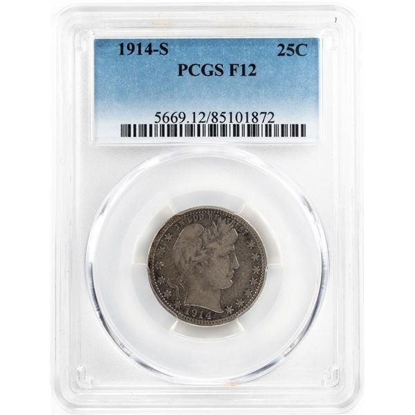 1914-S Barber Quarter Coin PCGS F12