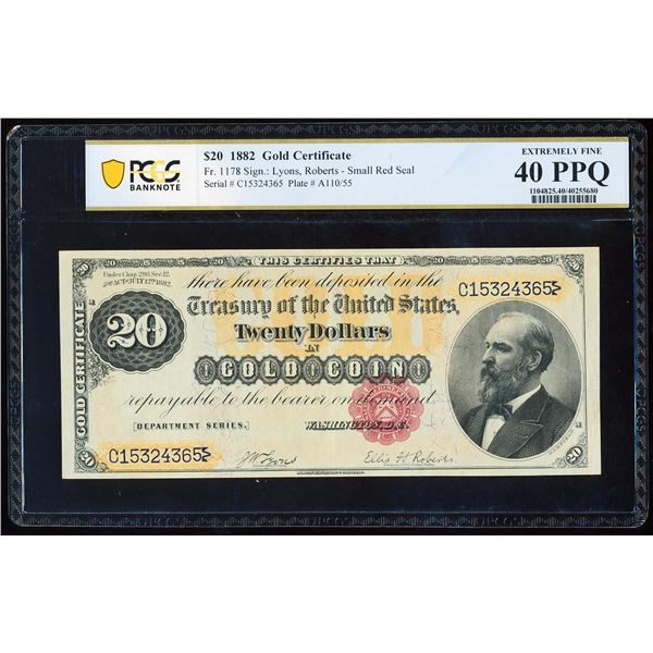 1882 $20 Gold Certificate Note Fr.1178 PCGS Extremely Fine 40PPQ