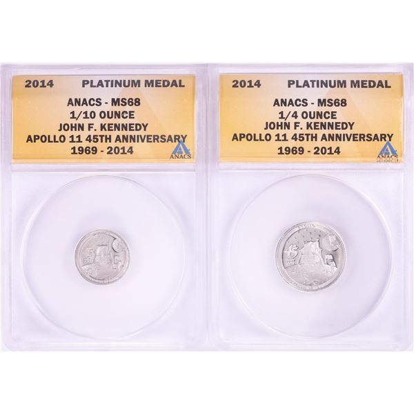 Set of 2014 Proof 1/10 & 1/4 oz Platinum JFK Apollo 11 Anniversary Medals ANACS MS68