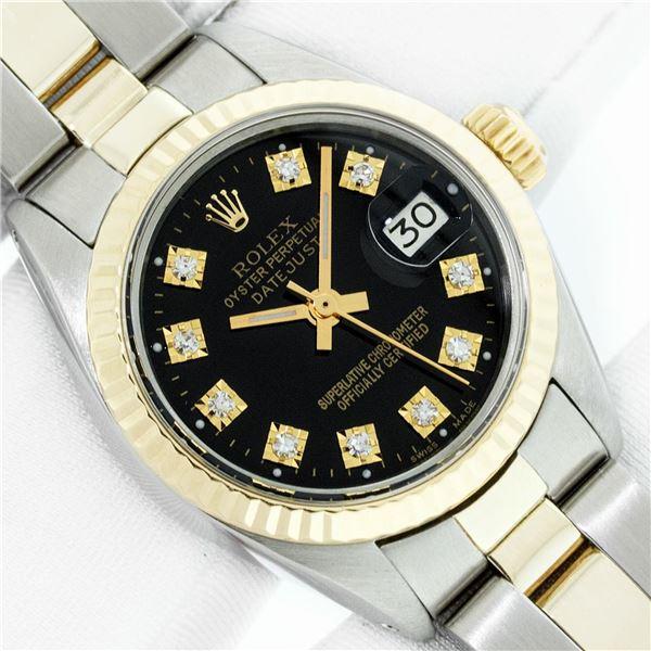 Rolex Ladies Two Tone Black Diamond 26MM Datejust Wristwatch With Rolex Box