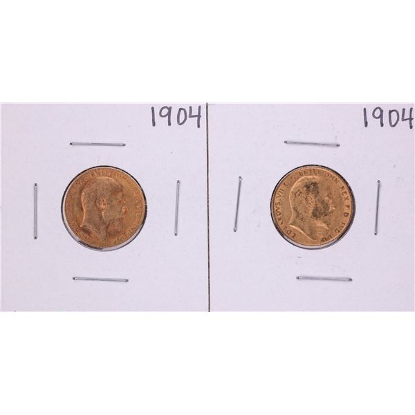 Lot of (2) 1904 Great Britain Half Sovereign Gold Coins
