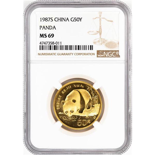1987-S China 50 Yuan Gold Panda Coin NGC MS69