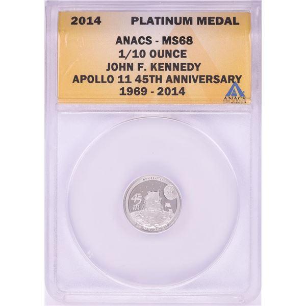 2014 Proof 1/10 oz Platinum JFK Apollo 11 Anniversary Medal ANACS MS68