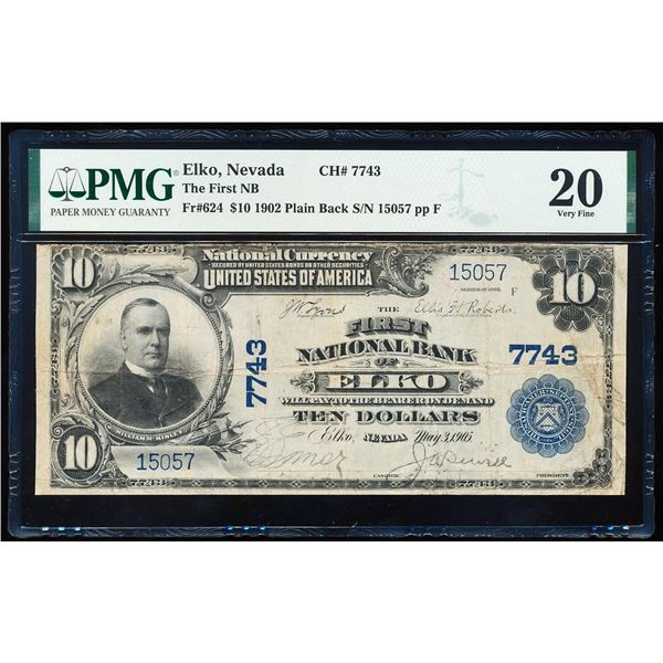 1902PB $10 First NB of Elko, NV CH# 7743 National Bank Note PMG Very Fine 20