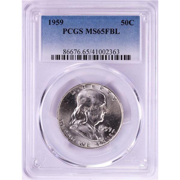 1959 Franklin Half Dollar Coin PCGS MS65FBL