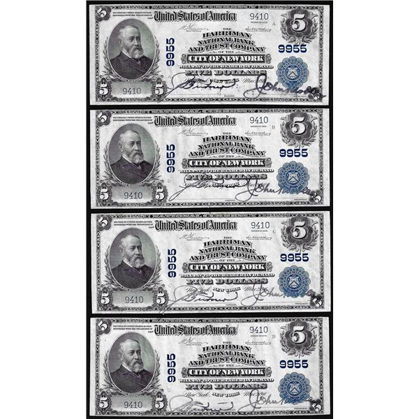 Cut Sheet of (4) 1902 $5 Harriman NB New York, NY CH# 9955 National Currency Notes