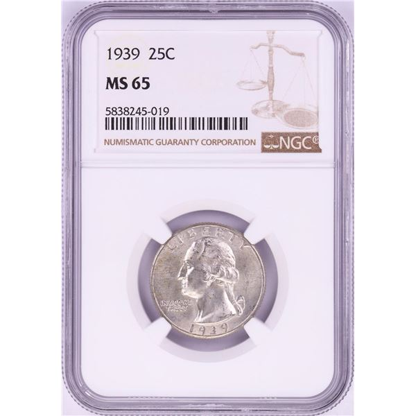 1939 Washington Quarter Coin NGC MS65