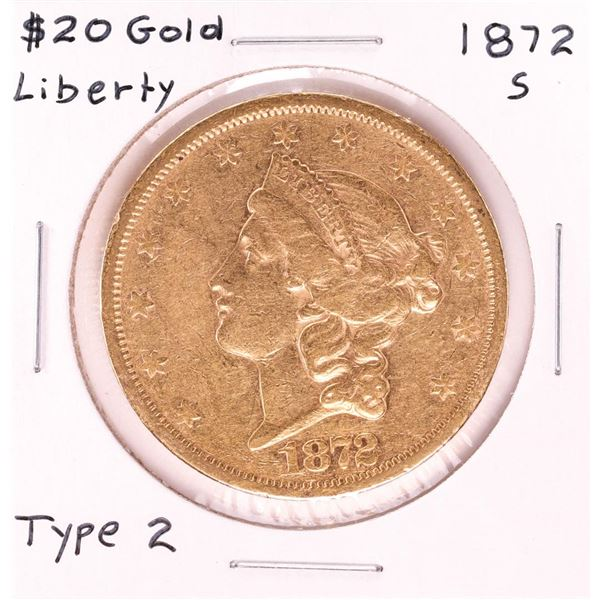 1872-S $20 Type 2 Liberty Head Double Eagle Gold Coin