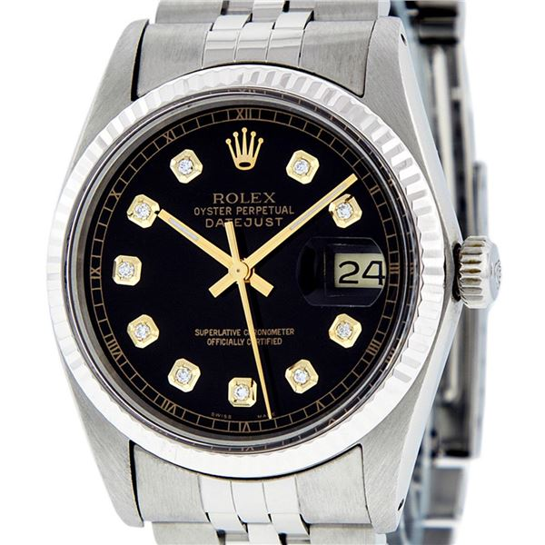 Rolex Men's Stainless Steel 36MM Black Diamond Datejust Watch