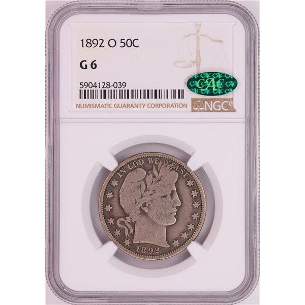 1892-O Barber Half Dollar Coin NGC G6 CAC