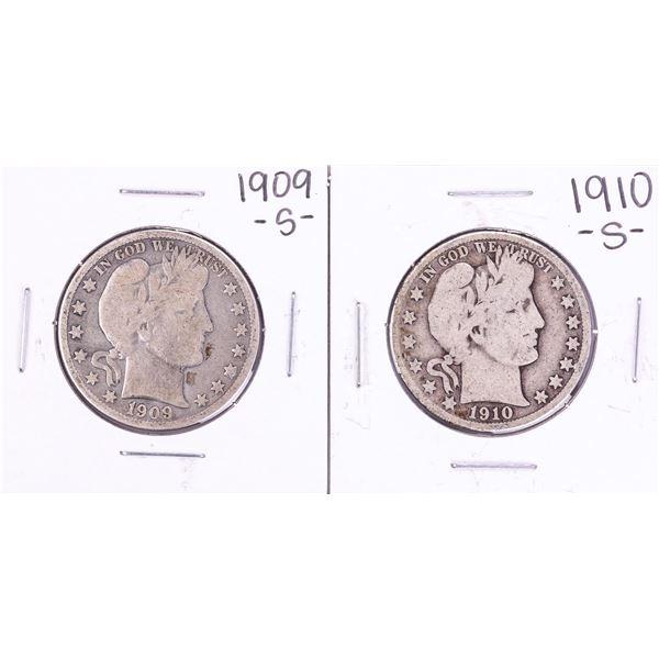 Lot of 1909-S & 1910-S Barber Half Dollar Coins