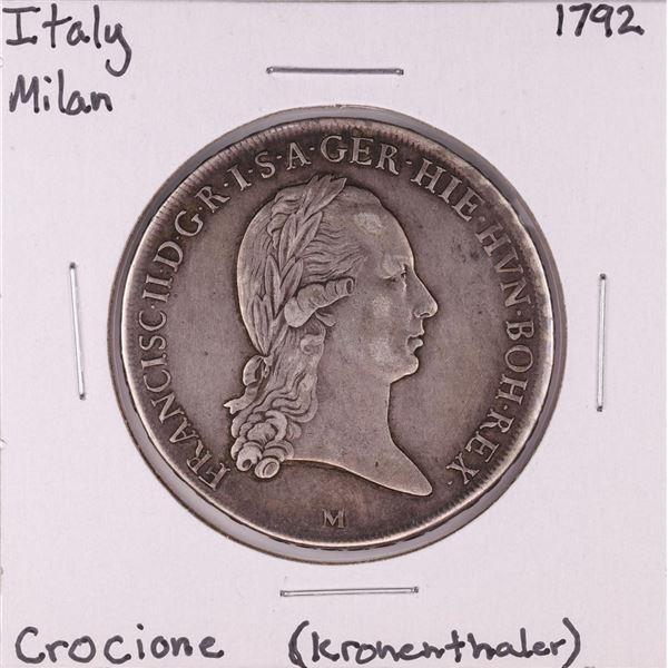 1792 Italy Milan Crocione Kronenthaler Silver Coin