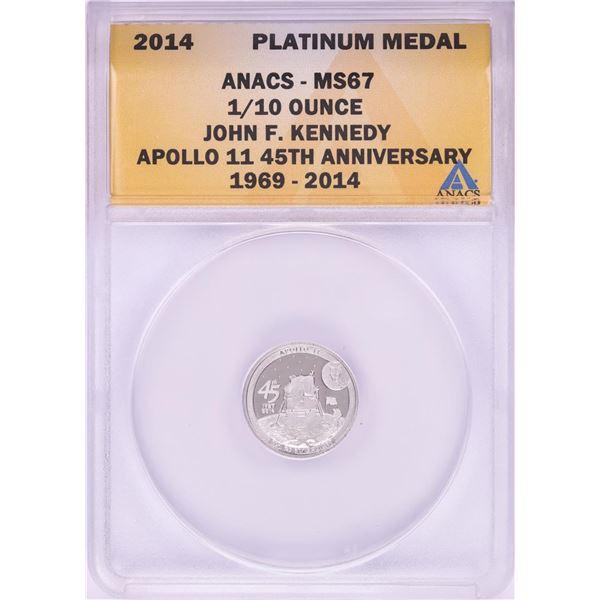2014 Proof 1/10 oz Platinum JFK Apollo 11 Anniversary Medal ANACS MS67