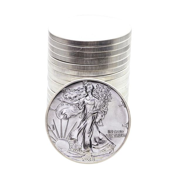 Roll of (20) Brilliant Uncirculated 1988 $1 American Silver Eagle Coins