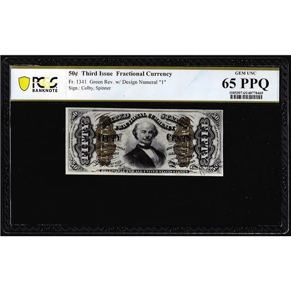 1863 Fifty Cents Third Issue Fractional Note Fr.1341 PCGS Gem Uncirculated 65PPQ