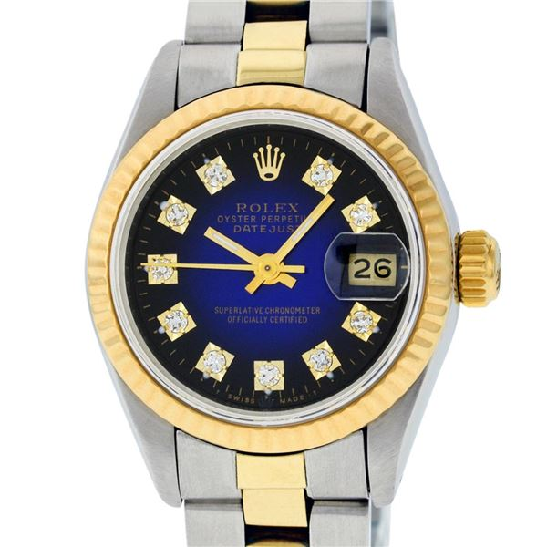 Rolex Ladies Two Tone Blue Vignette Diamond Oyster Perpetual Datejust Watch