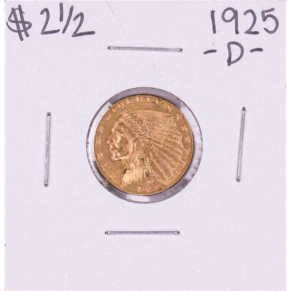 1925-D $2 1/2 Indian Head Quarter Eagle Gold Coin