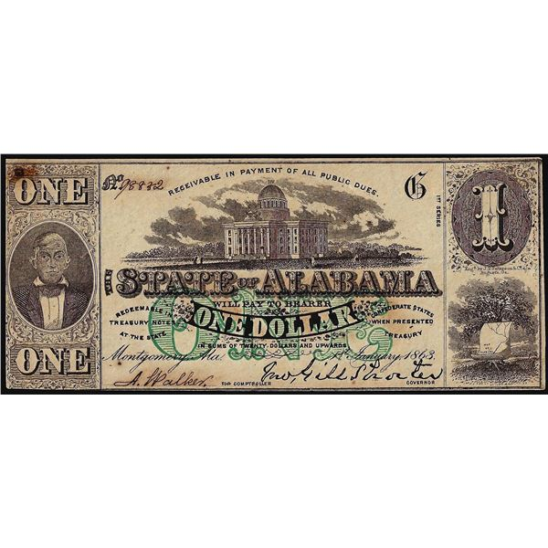 1863 $1 State of Alabama Montgomery, AL Obsolete Note