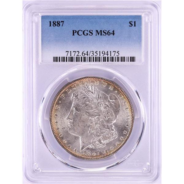1887 $1 Morgan Silver Dollar Coin PCGS MS64