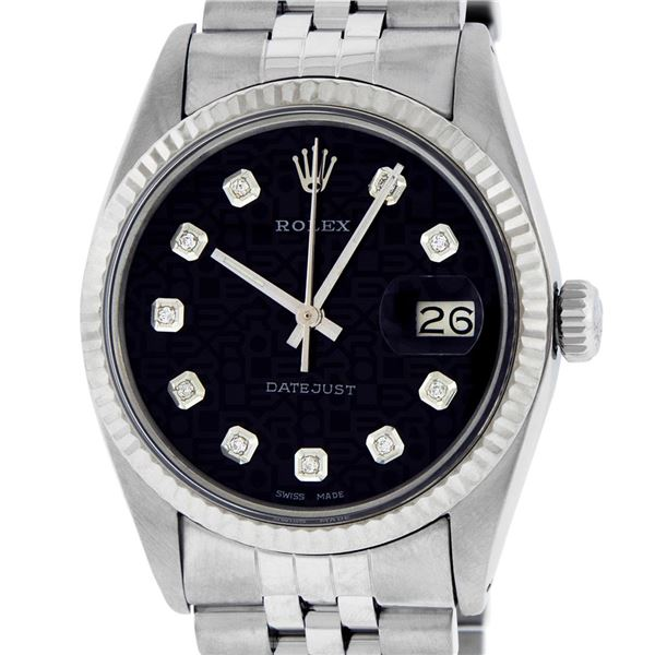 Rolex Mens Stainless Steel Black Diamond Oyster Perpetual Datejust Wristwatch