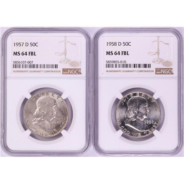 Lot of 1957-D & 1958-D Franklin Half Dollar Coins NGC MS64FBL