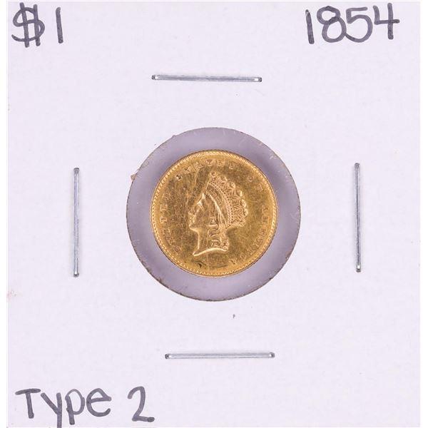 1854 Type 2 $1 Indian Princess Head Gold Dollar Coin