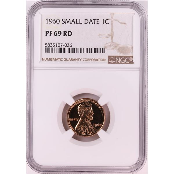 1960 Small Date Proof Lincoln Memorial Cent Coin NGC PF69RD