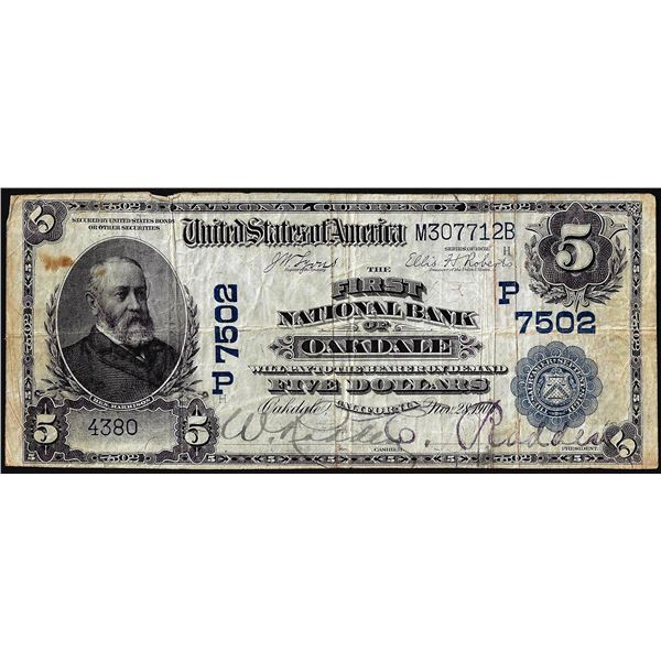 1902DB $5 First NB of Oakdale, California CH# 7502 National Currency Note