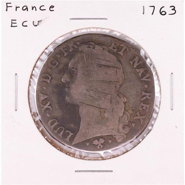 1763 France Louis XV ECU Coin