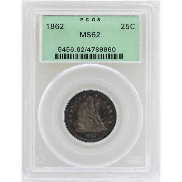 1862 Seated Liberty Quarter Coin PCGS MS62 Old Green Holder