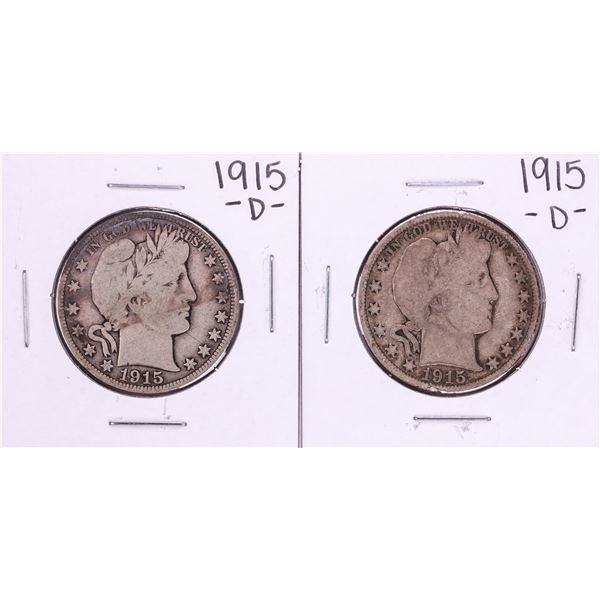 Lot of (2) 1915-D Barber Half Dollar Coins