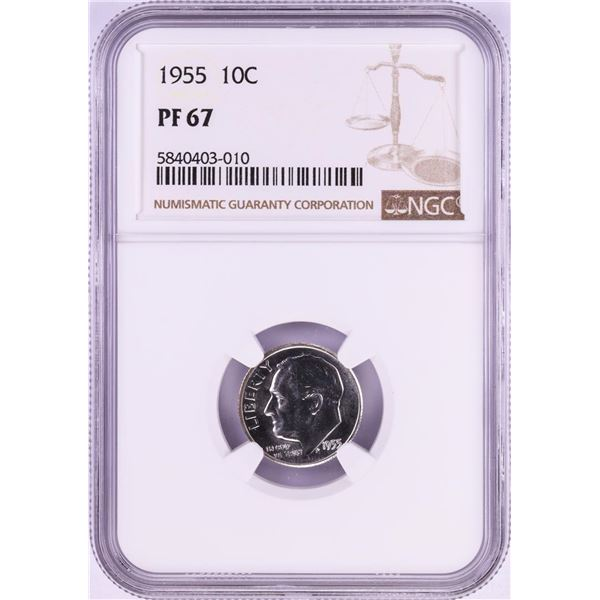 1955 Proof Roosevelt Dime Coin NGC PF67