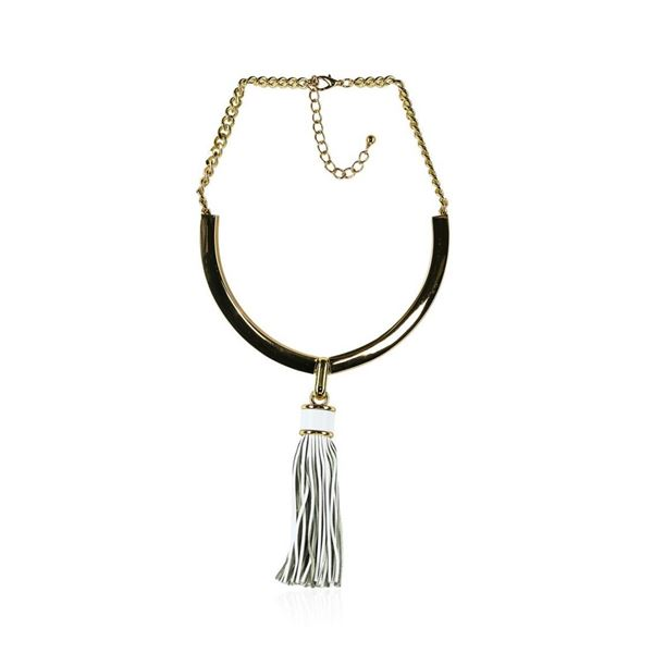 Leather Tassel Pendant Necklace - Rhodium Plated