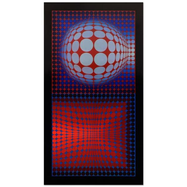 "Victor Vasarely (1908-1997), ""VP Host"" Heliogravure Print, Titled Inverso."