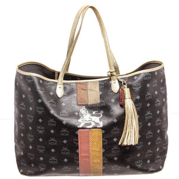 MCM Black Coated Canvas  Leather Large Lion Shopper Shoulder Bag