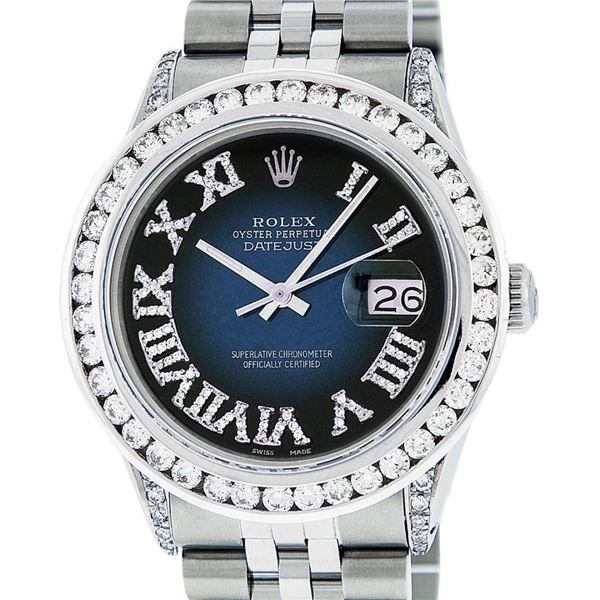 Rolex Mens Stainless Steel Blue Vignette Roman 3 ctw Diamond Datejust Wristwatch