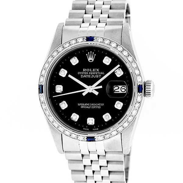 Rolex Mens Stainless Steel Black Diamond & Sapphire 36MM Datejust Wristwatch 36M