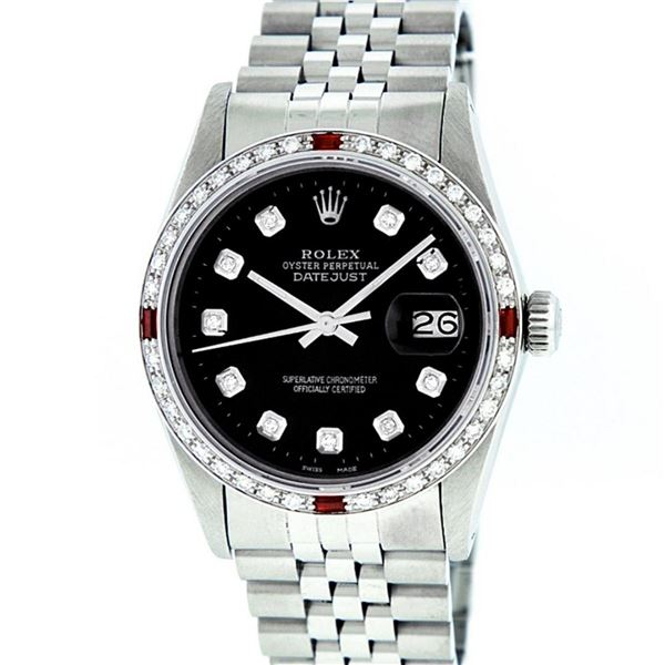 Rolex Mens Stainless Steel Black Diamond & Ruby 36MM Datejust Wristwatch Oyster